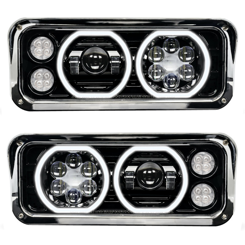 Peterbilt 379 LED Projector Headlight Assembly With Black Finish