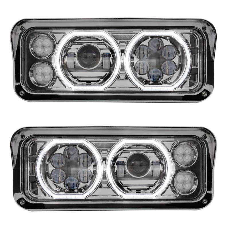 LED Projector Headlight Assembly With Chrome Finish