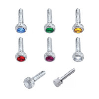 Freightliner Chrome Short Dash Screws With Colored Diamond - Styles