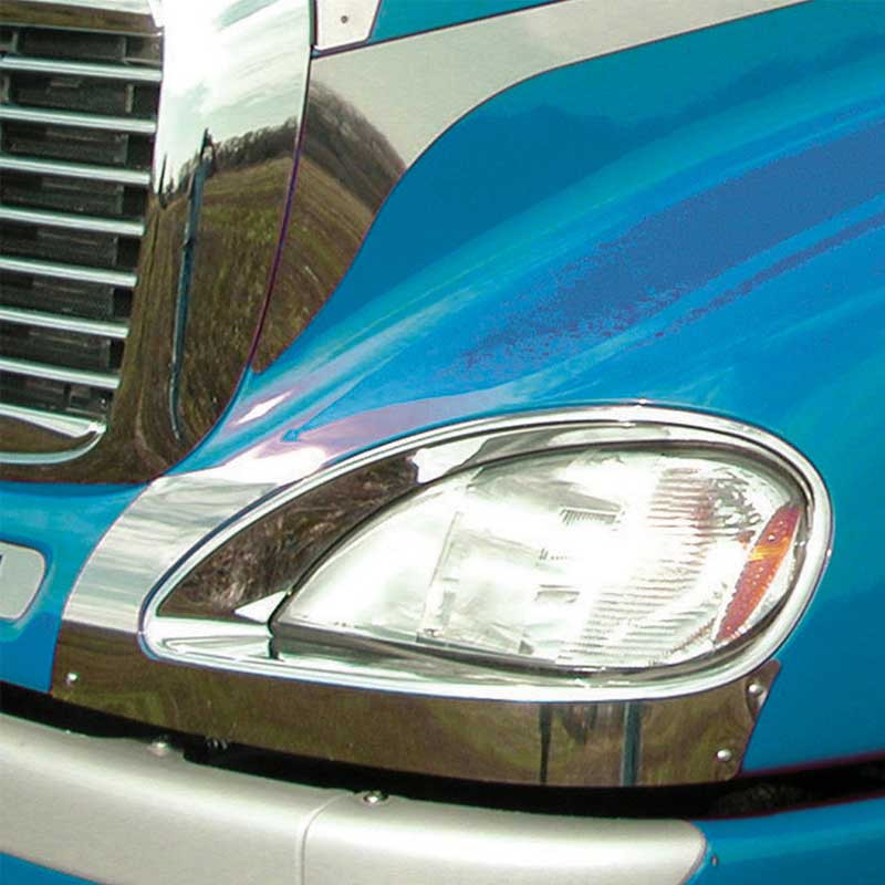 Freightliner Columbia Headlight Fender Guard On Blue Truck
