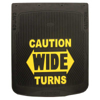 "24"" x 30"" Caution Wide Turns Mud Flaps With Black Background"