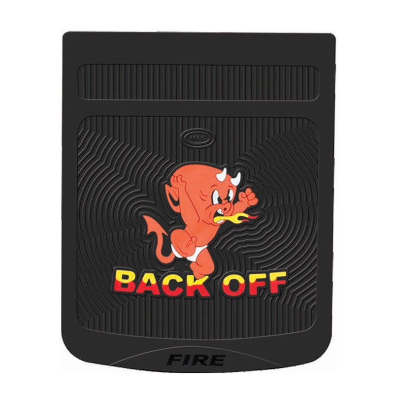"""24"""" x 30"""" Devil Back Off Mud Flaps With Black Background -Red"""
