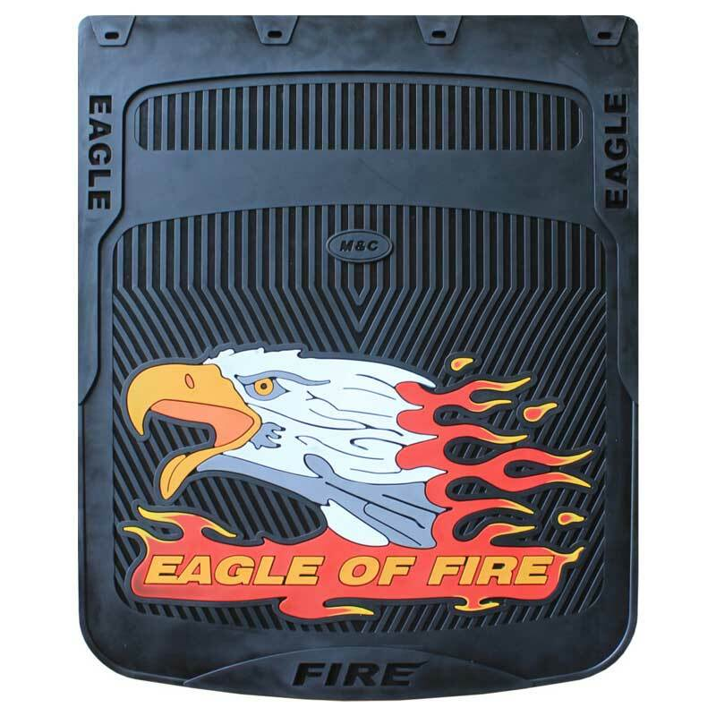 """24"""" x 24"""" Horizontal Fire Eagle Mud Flaps With Black Background"""