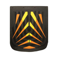 "24"" x 30"" Arrow Mud Flaps With Black Background Orange and Yellow"