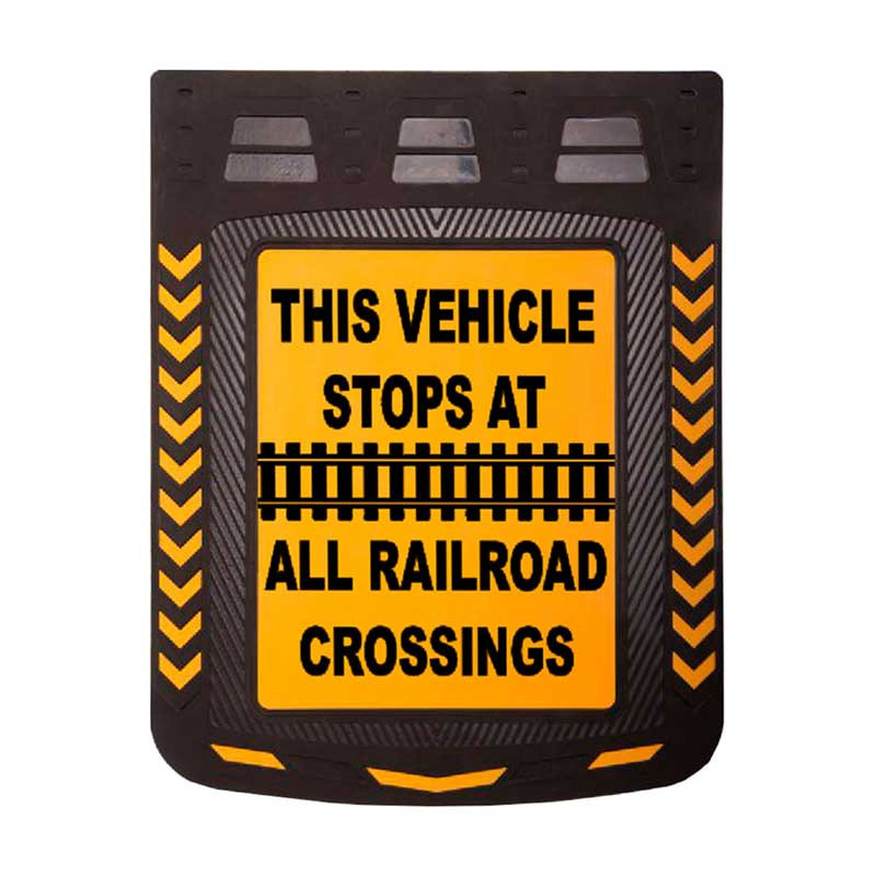 """24"""" x 30"""" Caution Railroad Crossing Mud Flaps With Black Background"""