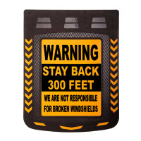"24"" x 30"" Caution Warning Stay Back Mud Flaps With Black Background"