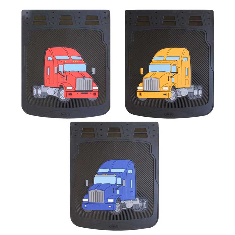 """24"""" Kenworth T800 Rubber Mud Flaps With Black Background"""