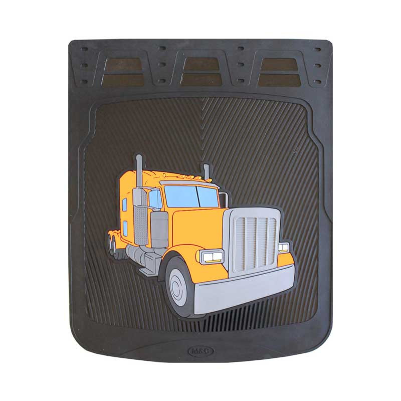 """24"""" Peterbilt 379 Rubber Mud Flaps With Black Background Yellow"""