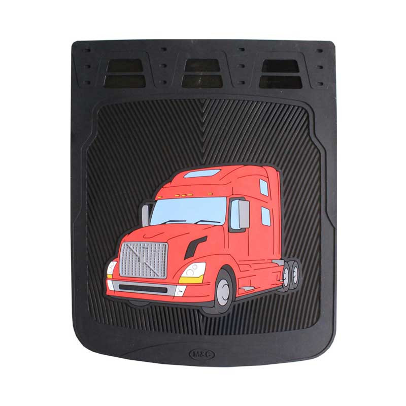 """24"""" Volvo Rubber Mud Flaps With Black Background Red"""