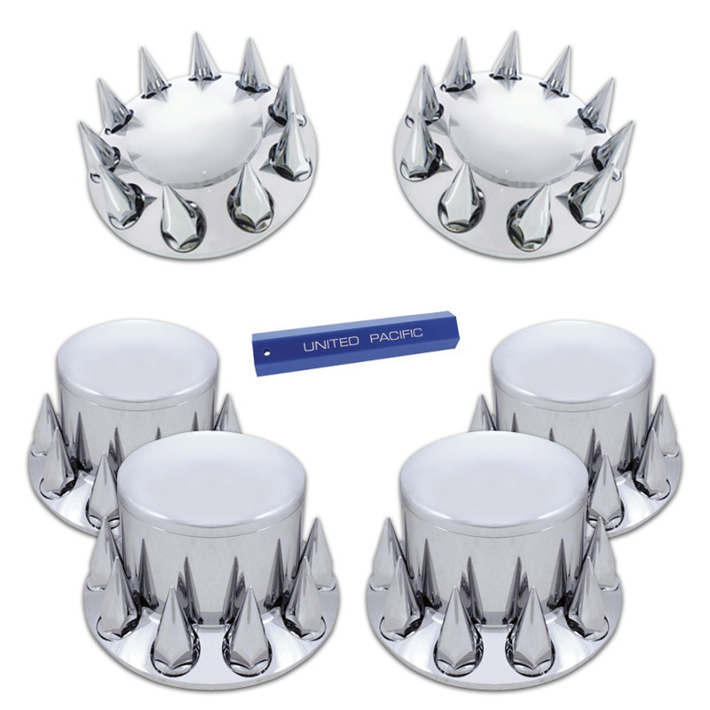 Complete Chrome Axle Cover Kit with Spiked Lug Nut Covers