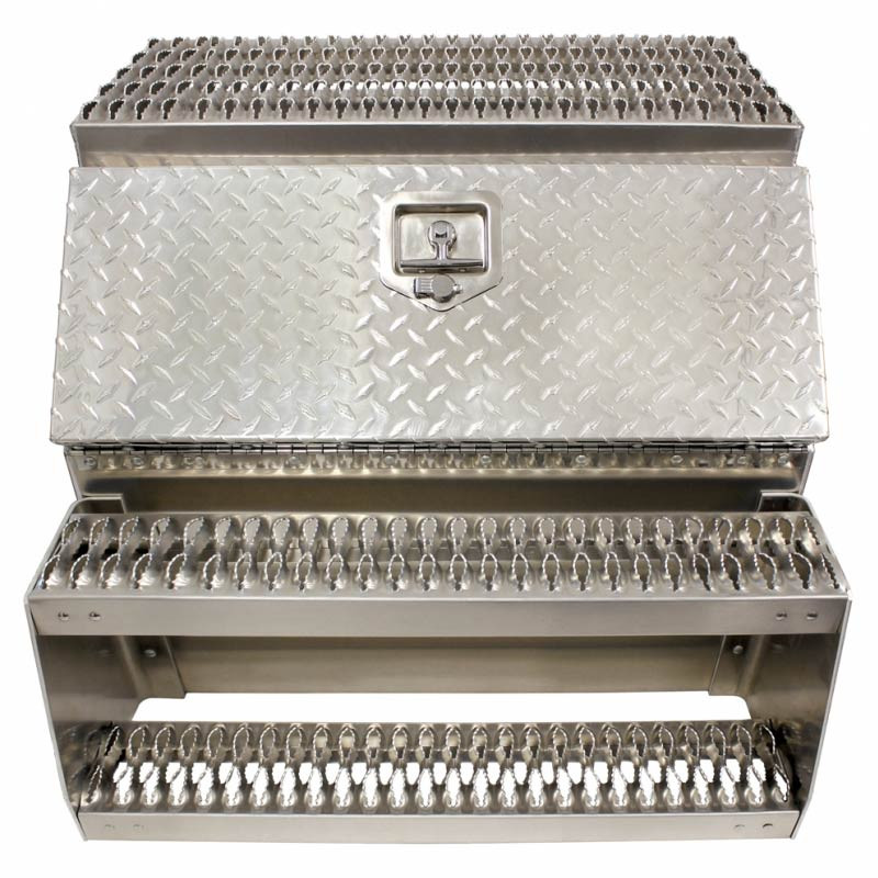 "30"" Diamond Plate Aluminum Saddle Tool Box With Step"