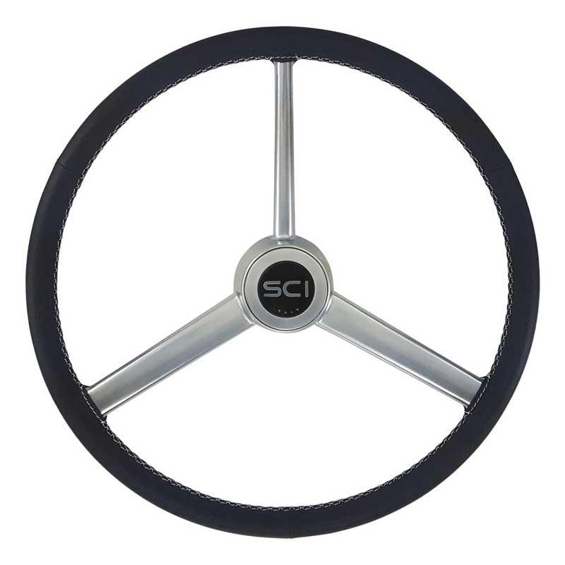 "20"" Retro Leather Black Steering Wheel"