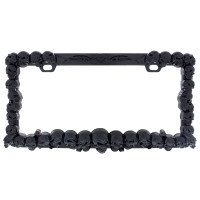 Black Universal Skulls License Plate Frame