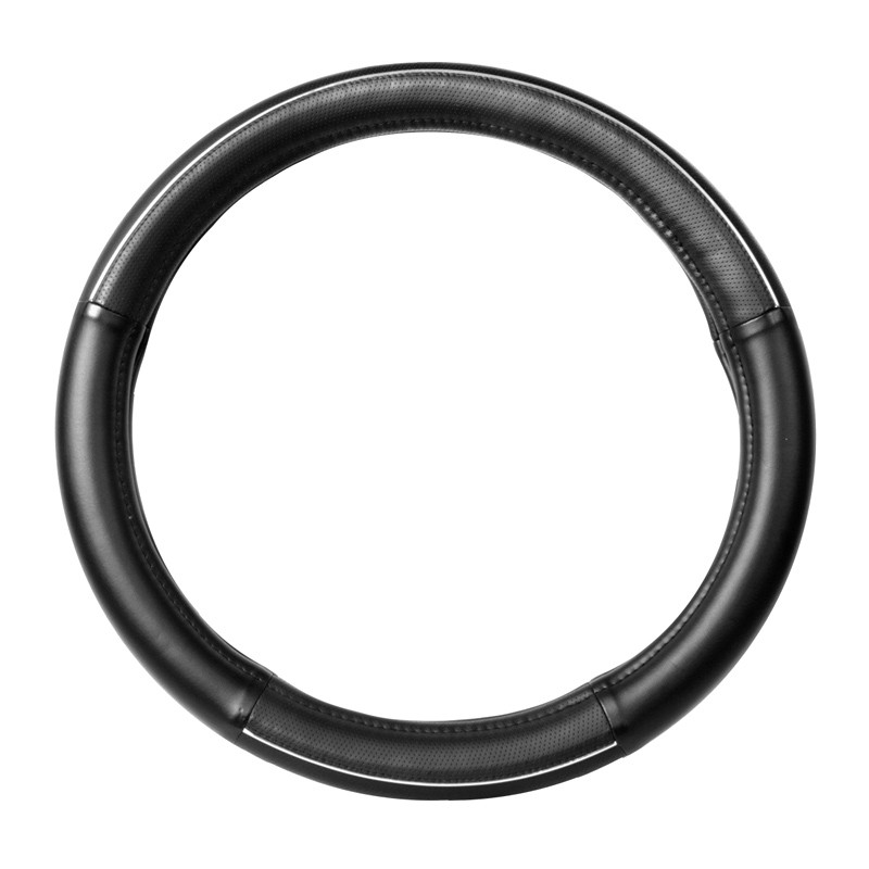 """18"""" Black Steering Wheel Cover With Chrome Trim By Grand General"""
