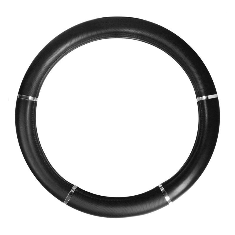 """18"""" Black Deluxe Steering Wheel Cover With Chrome Trim By Grand General"""