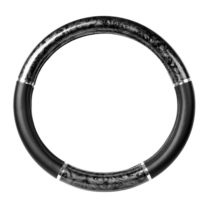 """18"""" Black Wood Steering Wheel Cover With Chrome Trim By Grand General"""