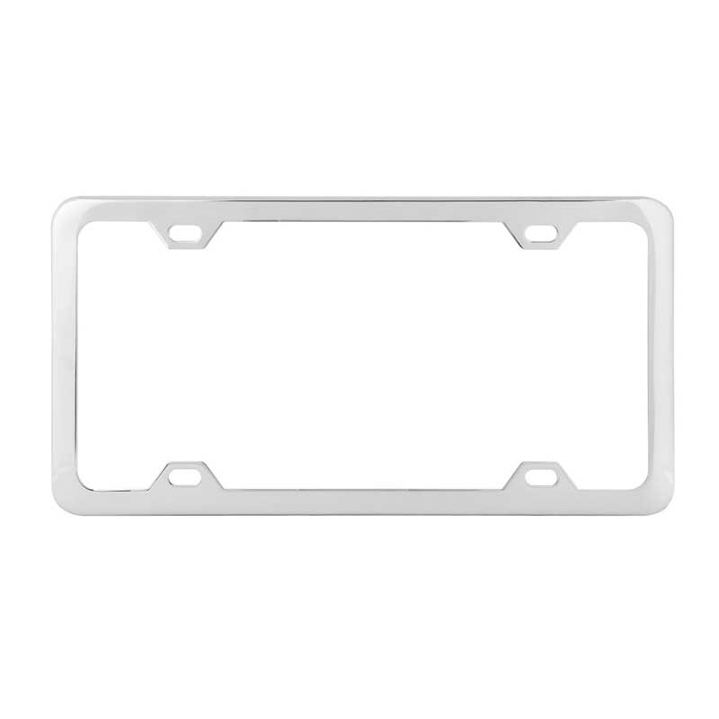 Universal 4 Hole License Plate Frame Plain By Grand General Chrome