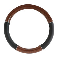 "20"" Black And Wood Steering Wheel Cover With Chrome Trim By Grand General"