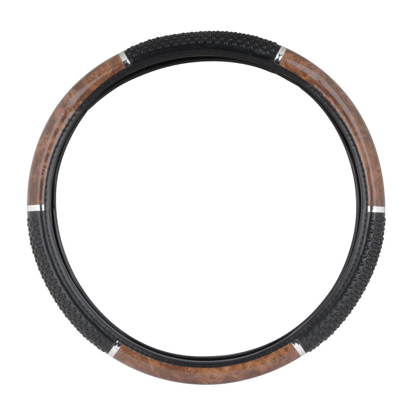 """18"""" Black And Wood Steering Wheel Cover With Hand Grips By Grand General"""
