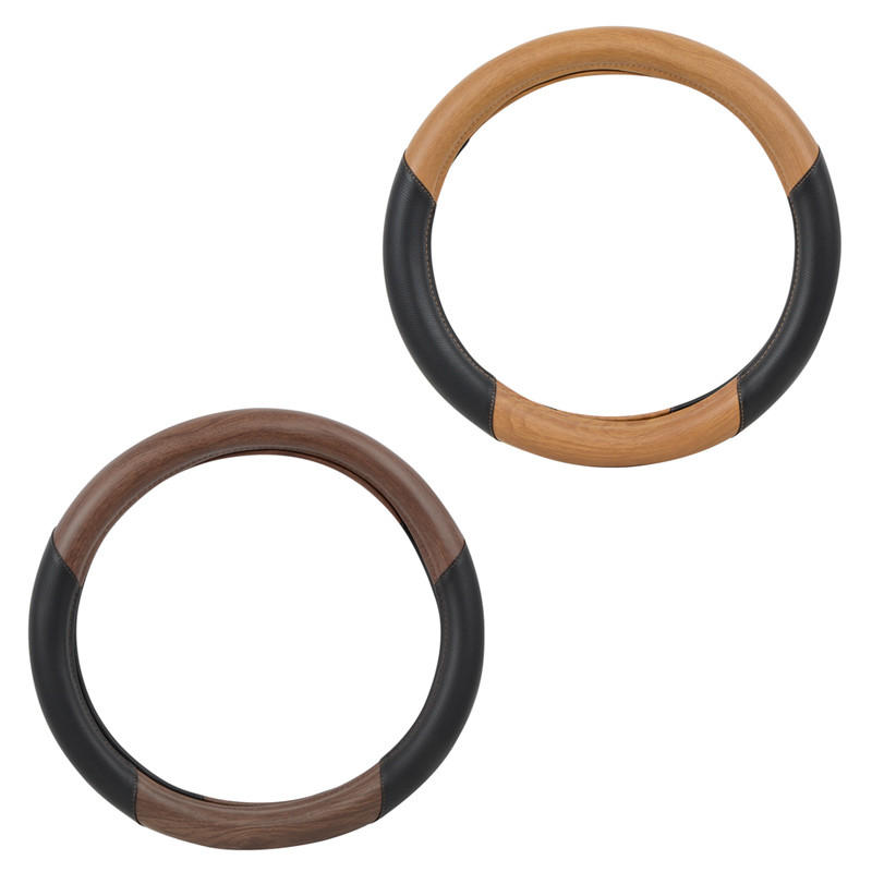 """18"""" Deluxe Black And Wood Steering Wheel Cover By Grand General"""