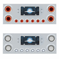 "Stainless Steel Rear Center Panel With 4"" Round & 2"" Round Mirage Red Lens LEDs Both"