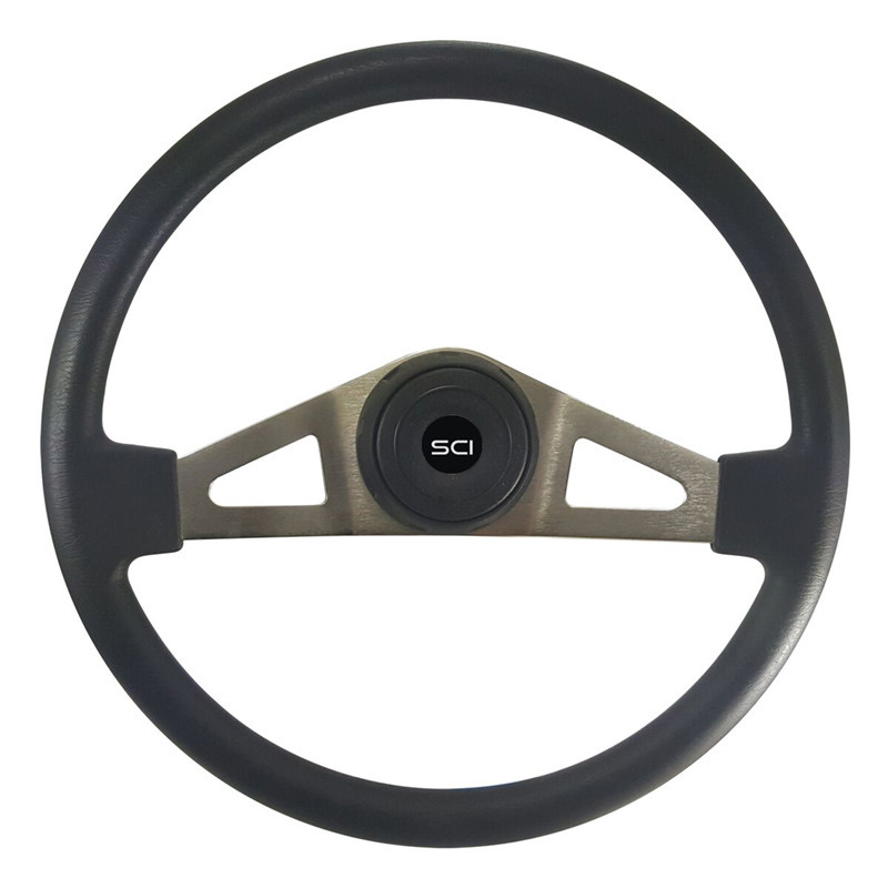 "18"" Pinion Black Polyurethane Steering Wheel With Brushed Nickel Spokes"