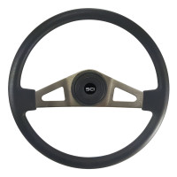 "18"" Pinion Black Polyurethane Steering Wheel With Brushed Nickel Spokes"