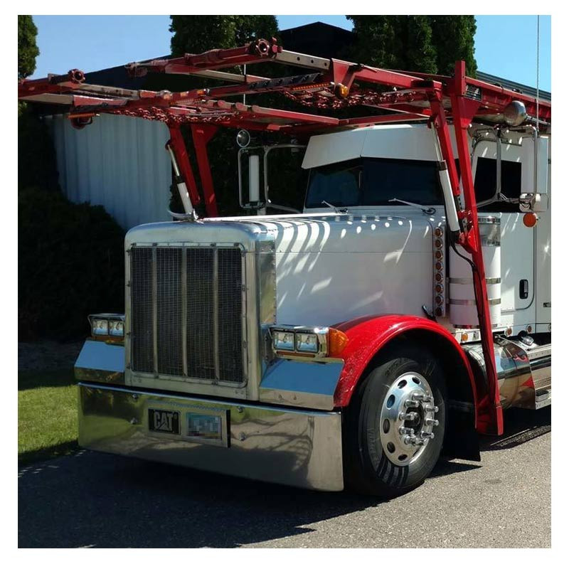 """Peterbilt 379 20"""" Chrome Bumper Texas Square With 9 M1 Style Light Holes By Valley Chrome"""