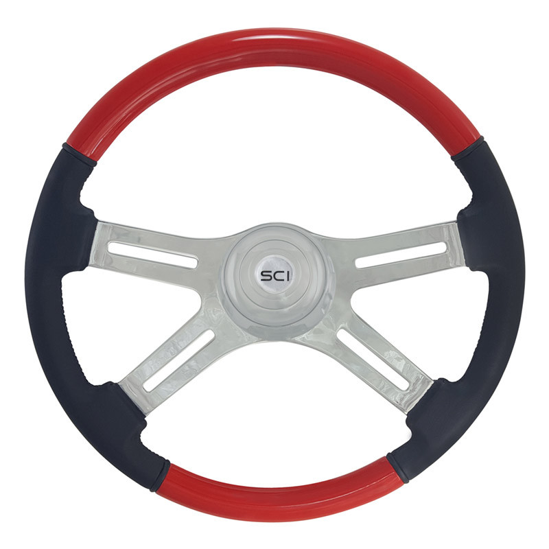 "18"" Classic Combo Red Wood & Leather 4 Chrome Spoke Steering Wheel"