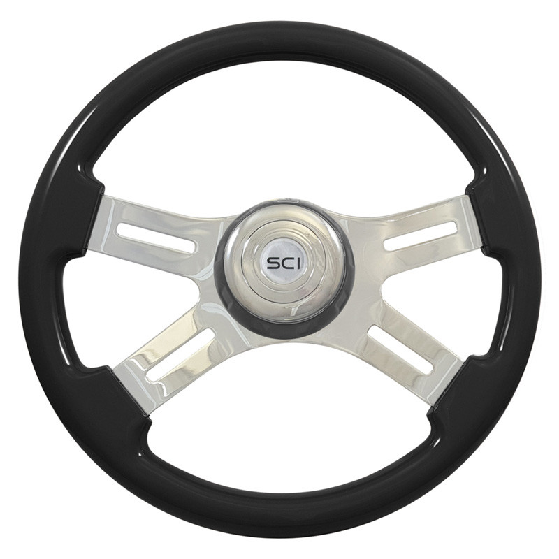 "16"" Classic Black Wood 4 Chrome Spoke Steering Wheel"