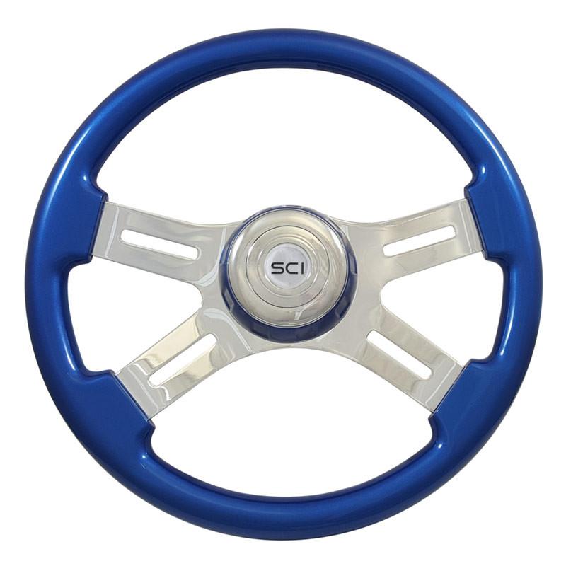 "16"" Classic Blue Wood 4 Chrome Spoke Steering Wheel"