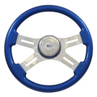 "16"" Classic Blue Wood 4 Chrome Spoke Steering Wheel"