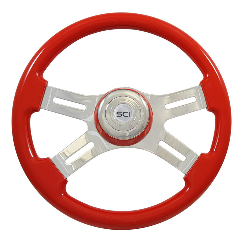 "16"" Classic Red Wood 4 Chrome Spoke Steering Wheel"