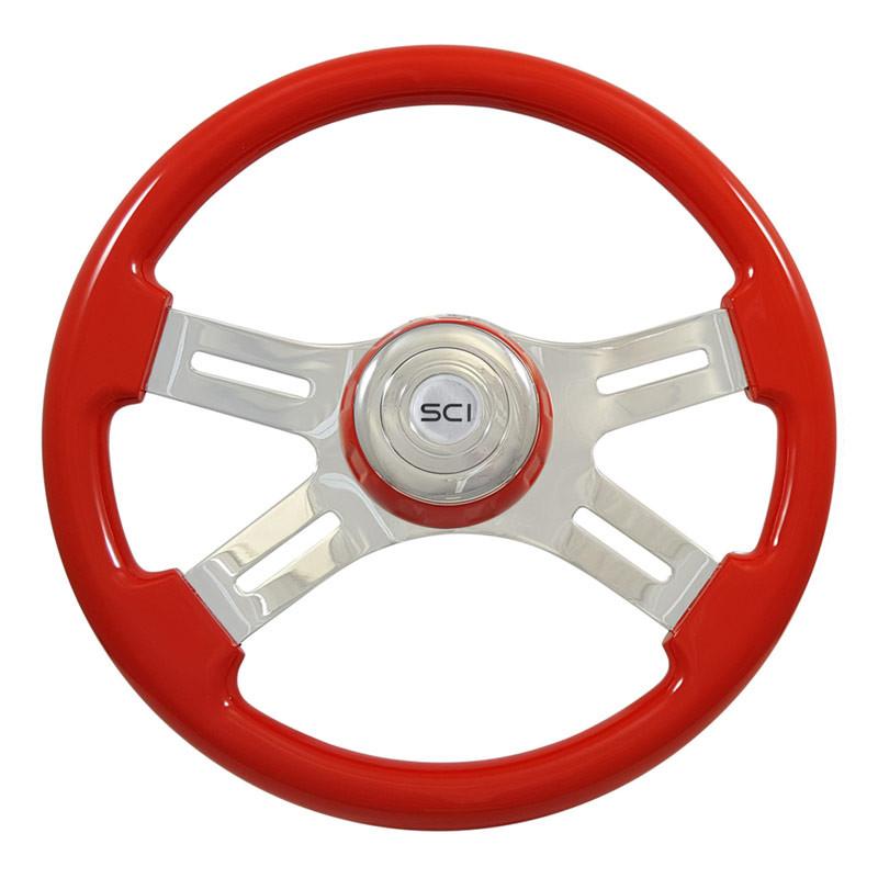 "16"" Classic Red Wood 4 Chrome Spoke Steering Wheel"