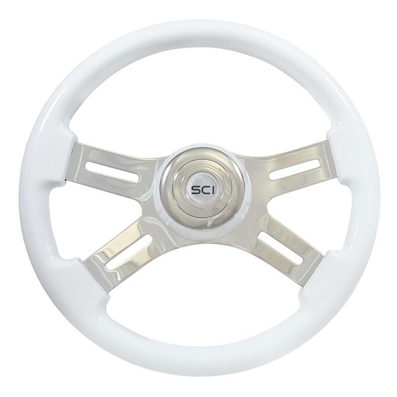 "16"" Classic White Wood 4 Chrome Spoke Steering Wheel"
