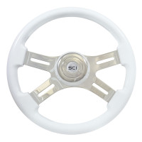 "16"" Classic White Wood 4 Chrome Spoke Steering Wheel"