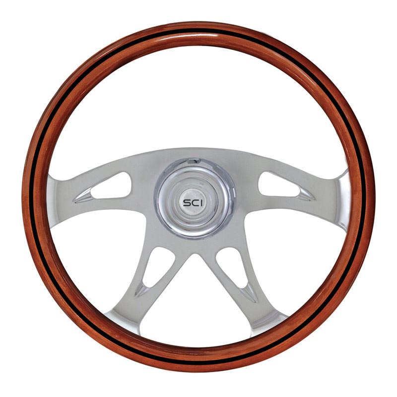 """18"""" Ace Black Line 4 Chrome Spoke Steering Wheel"""