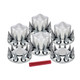Complete Chrome Pointed Axle Cover Kit with Spiked Lug Nut Covers