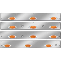 Kenworth W900L T800 Stainless Steel Cab Panels With P1 Style Amber LEDs