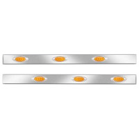 Kenworth W900 Stainless Steel Cab Panels With P1 Style Amber LEDs (Amber Lens)