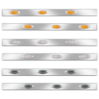 Kenworth W900 Stainless Steel Cab Panels With P1 Style Amber LEDs