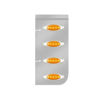 Kenworth Stainless Steel Hood Extension Panels With P1 Style Amber LED