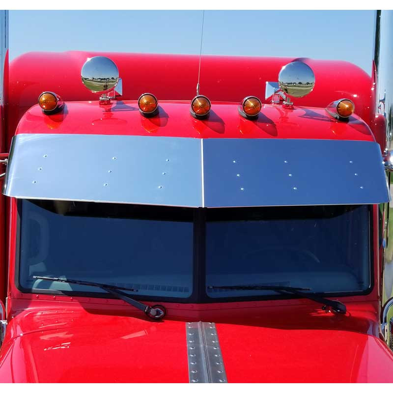 "Peterbilt 389 Pride And Class Stainless 14"" Drop Visor No Drilling Required Front View"