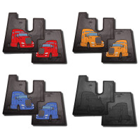 Kenworth T680 Rubber Floor Mats Red Yellow Blue Black