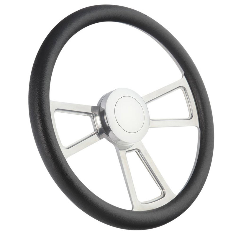 "Highway Wheels Half Wrap Steering Wheel 18"" Polished Finish - Black"