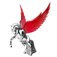 Chrome Fighting Stallion Hood Ornament With Illuminated Wings By Grand General
