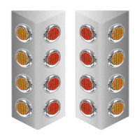 "Mack Double Sided Fire Wall Air Cleaner Light Bar With 2"" LEDs - Amber & Red"