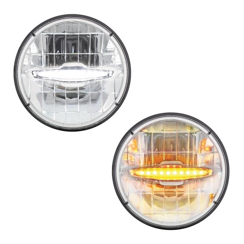 "7"" Round High Power LED Headlight with LED Daytime Running Light Bar"