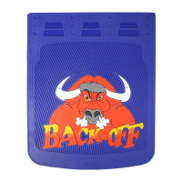 "24"" x 30"" Back Off Bull Mud Flaps With Blue Background"