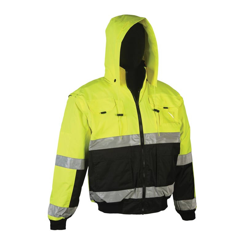High Visibility Class 3 Reversible Bomber Jacket With Detachable Sleeves By Grand General